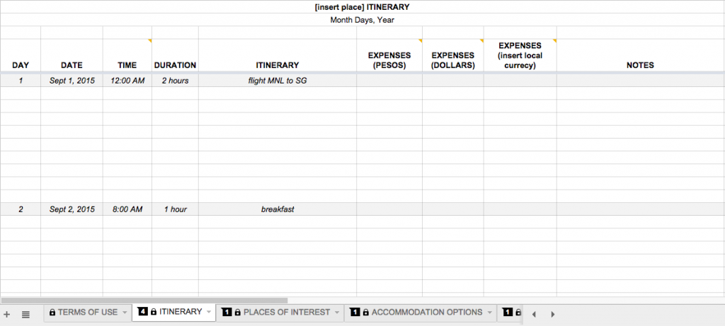how to plan a trip free travel itinerary template tfs
